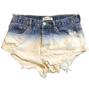 RP-Mod Ombré Distressed Button Fly Shorts